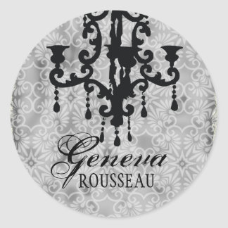 GC   Vintage Chandelier Gris Round Sticker