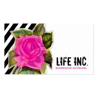 GC Vintage Pink Rose Black Stripes Pack Of Standard Business Cards