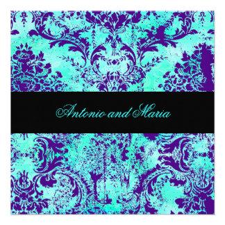 GC Vintage Turquoise Purple Damask Custom Invite