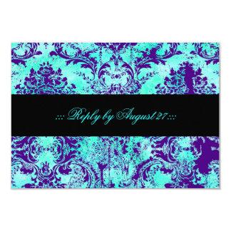 GC Vintage Turquoise & Purple Damask RSVP 9 Cm X 13 Cm Invitation Card