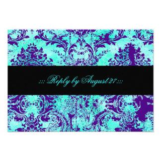 GC Vintage Turquoise & Purple Damask RSVP Invitations