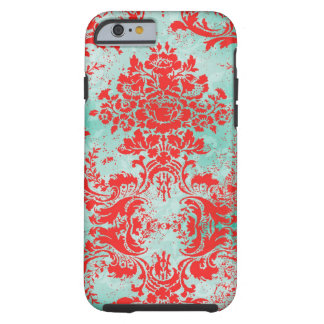 GC Vintage Turquoise Red Damask Tough iPhone 6 Case