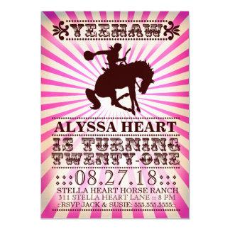 GC Yeehaw Rodeo 21st Birthday Pink 5x7 Paper Invitation Card