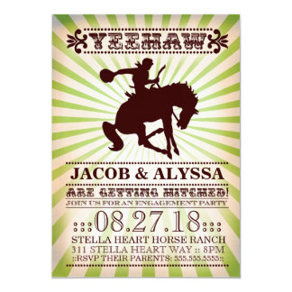 GC Yeehaw Rodeo Engagement Party Lime 5x7 Paper Invitation Card