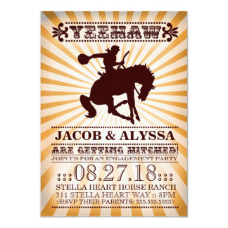 GC Yeehaw Rodeo Engagement Party Orange 5x7 Paper Invitation Card