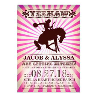 """GC Yeehaw Rodeo Engagement Party Pink 5"""" X 7"""" Invitation Card"""