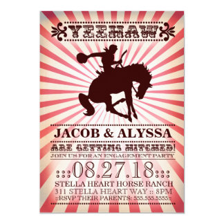 """GC Yeehaw Rodeo Engagement Party Red 5"""" X 7"""" Invitation Card"""