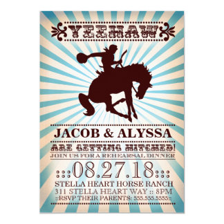 GC Yeehaw Rodeo Rehearsal Blue 5x7 Paper Invitation Card