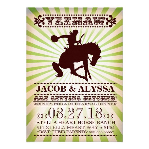 GC Yeehaw Rodeo Rehearsal Lime Personalized Announcements