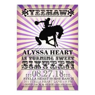 "GC Yeehaw Rodeo Sweet 16 Birthday Purple Black 5"" X 7"" Invitation Card"