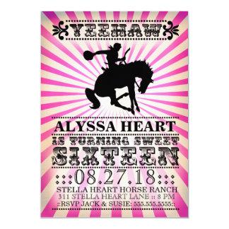 "GC Yeehaw Rodeo Sweet Sixteen Birthday Pink Black 5"" X 7"" Invitation Card"