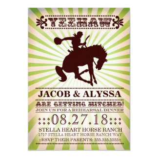 "GC Yeehaw Rowdy Rodeo Rehearsal Lime 5"" X 7"" Invitation Card"