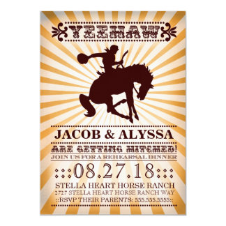 "GC Yeehaw Rowdy Rodeo Rehearsal Orange 5"" X 7"" Invitation Card"
