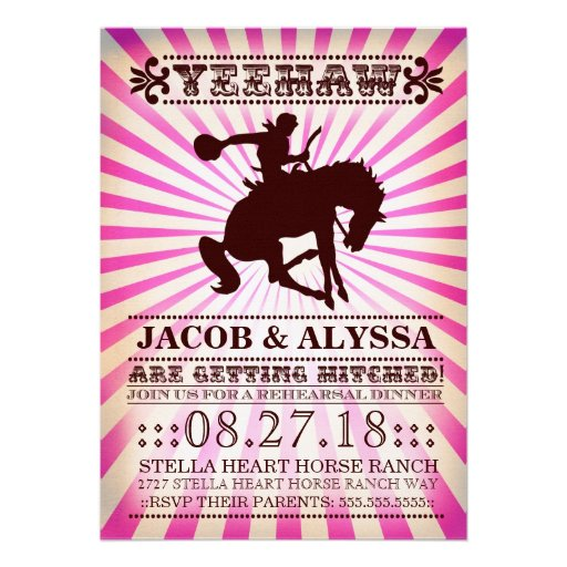 GC Yeehaw Rowdy Rodeo Rehearsal Pink Personalized Invite