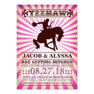 GC Yeehaw Rowdy Rodeo Rehearsal Pink 5x7 Paper Invitation Card