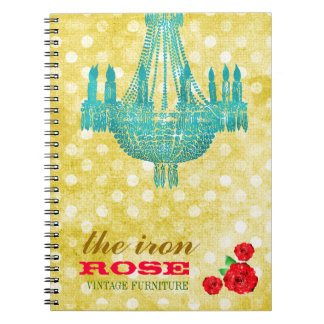 GC Yellow Vintage Rose Dots Spiral Notebook