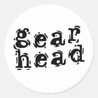 Gear Head Round Sticker