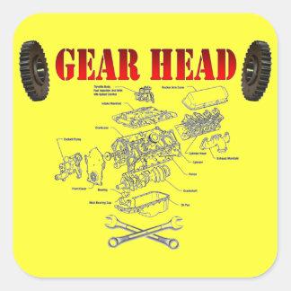 GEAR HEAD SQUARE STICKER