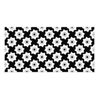 Gear wheels seamless pattern personalised photo card