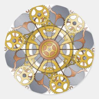 Gears and Cogs Mandala Design Classic Round Sticker