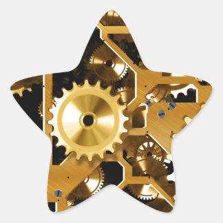Gears Gold Clock Grunge Steampunk Office Destiny Star Stickers