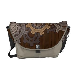 Gears on Wood Steampunk Style Commuter Bags