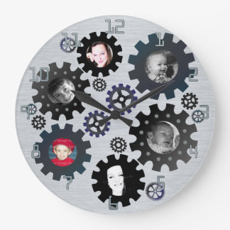 Gears Photo Frames Wall Clock