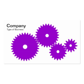 Gears - Purple on White Business Card Template