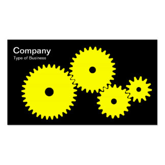 Gears - Yellow on Black Pack Of Standard Business Cards
