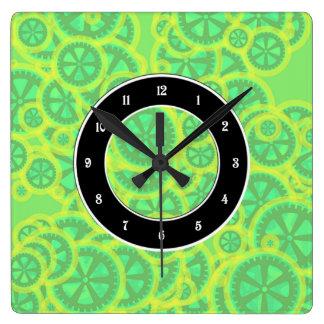 Gearwheels Square Wall Clock