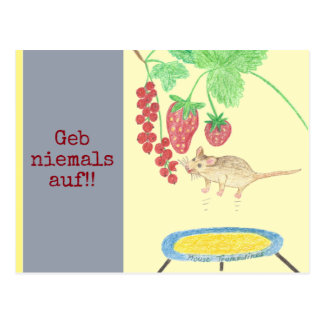 Geb never up! The mouse on the Trampolin Postcard