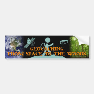 GECACHING from space to the woods Car Bumper Sticker