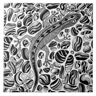 Gecko and pebbles ceramic tile