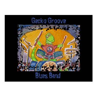 Gecko Groove Blues Band Lizard Drummer Postcard