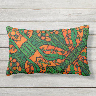 Gecko Lizard Orange And Green  Pattern Lumbar Cushion