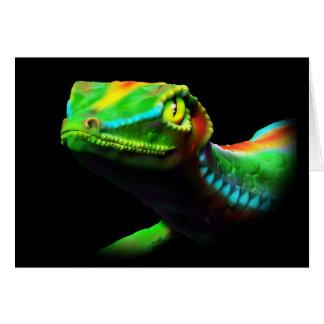 Gecko Lizard Rainbow Colours Greeting Cards