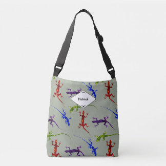 Gecko Lizards Monogram Sage All Over Print Totebag Crossbody Bag