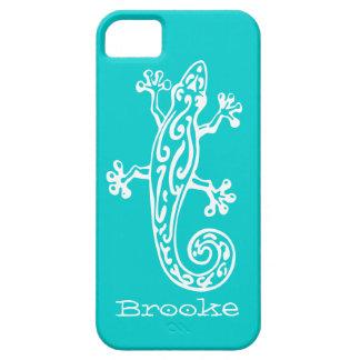 Gecko reptile white & aqua name iphone 5 case