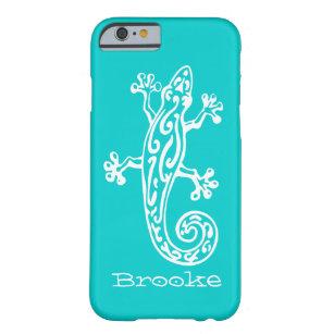 Gecko reptile white & aqua name iPhone 6 case