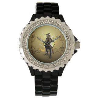 Gecko with sunglasses and floral elements watches