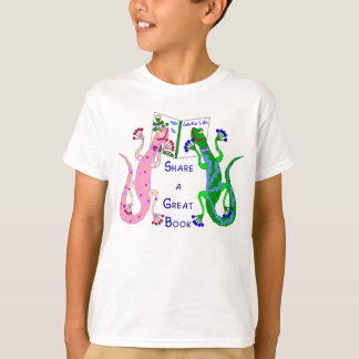 Geckos Share a Great Book T-Shirt