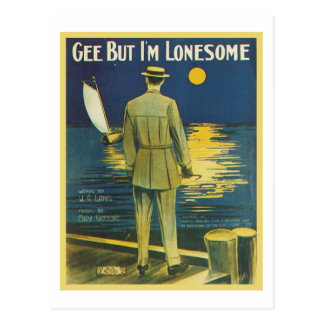 Gee But I m Lonesome Vintage Songbook Cover Post Card