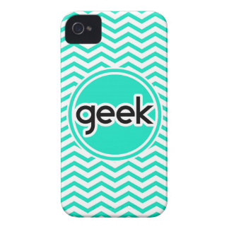 Geek Aqua Green Chevron Case-Mate iPhone 4 Cases
