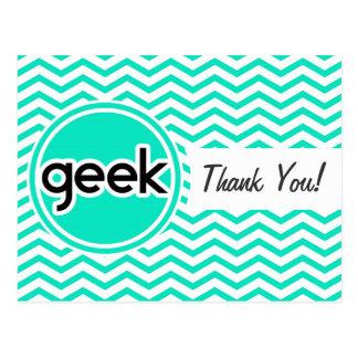 Geek Aqua Green Chevron Post Card