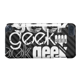 Geek; Black & Dark Gray Stripes iPod Touch (5th Generation) Cover