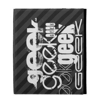 Geek; Black & Dark Gray Stripes iPad Folio Cover