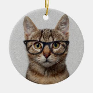 Geek Cat Round Ceramic Decoration