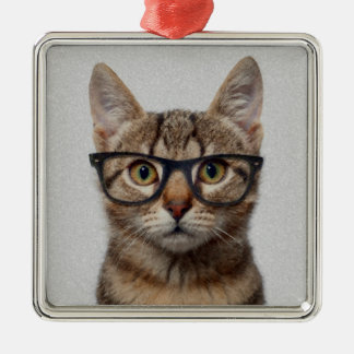 Geek Cat Silver-Colored Square Decoration