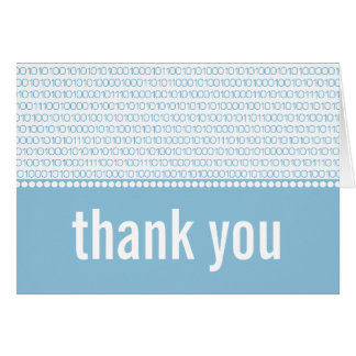 Geek Chic Binary Code Thank You Card, Blue Card