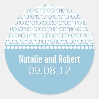 Geek Chic Binary Code Wedding Stickers, Blue Round Sticker